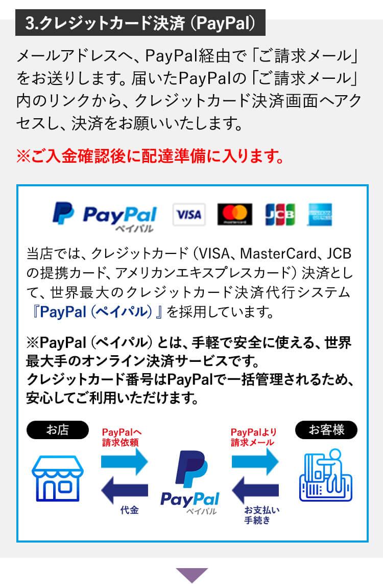 3.クレジットカード決済(PayPal)