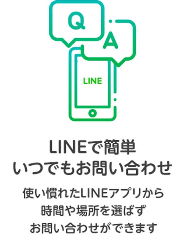 LINEで簡単いつでもお問い合わせ。使い慣れたLINEアプリから時間や場所を選ばずお問い合わせができます