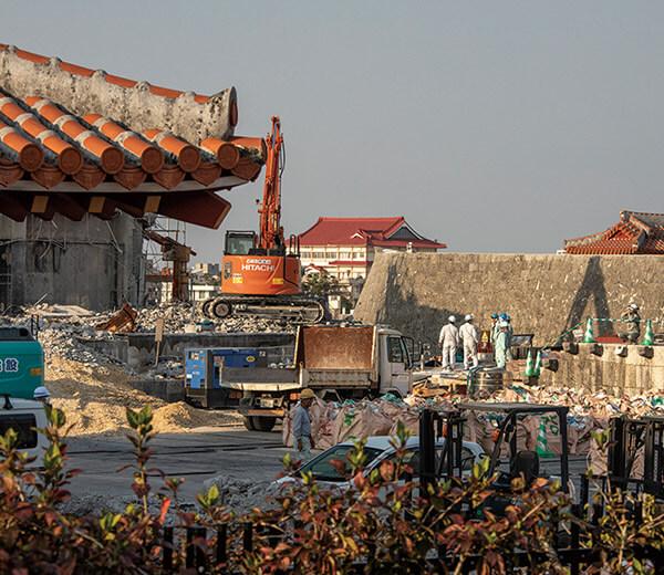 復興工事が進む正殿跡