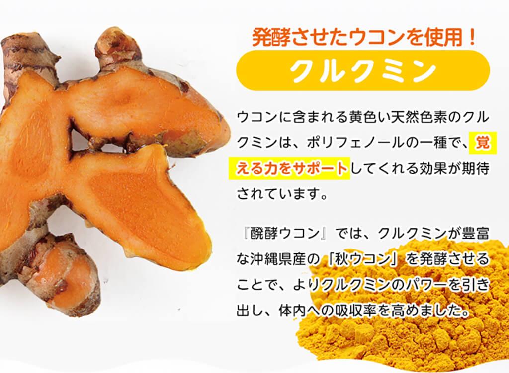 ウコンに含まれる黄色い天然色素のクルクミンは、ポリフェノールの一種で、覚える力をサポートしてくれる効果が期待されています。『醗酵ウコン』では、クルクミンが豊富な沖縄県産の「秋ウコン」を発酵させることで、よりクルクミンのパワーを引き出し、体内への吸収率を高めました。