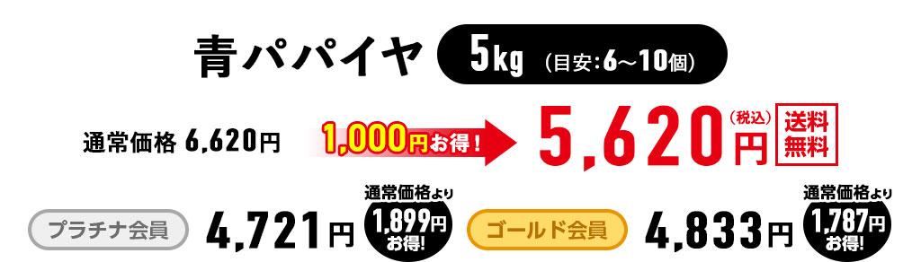 <有機JAS認定>青パパイヤ5kgが5,620円(税込)