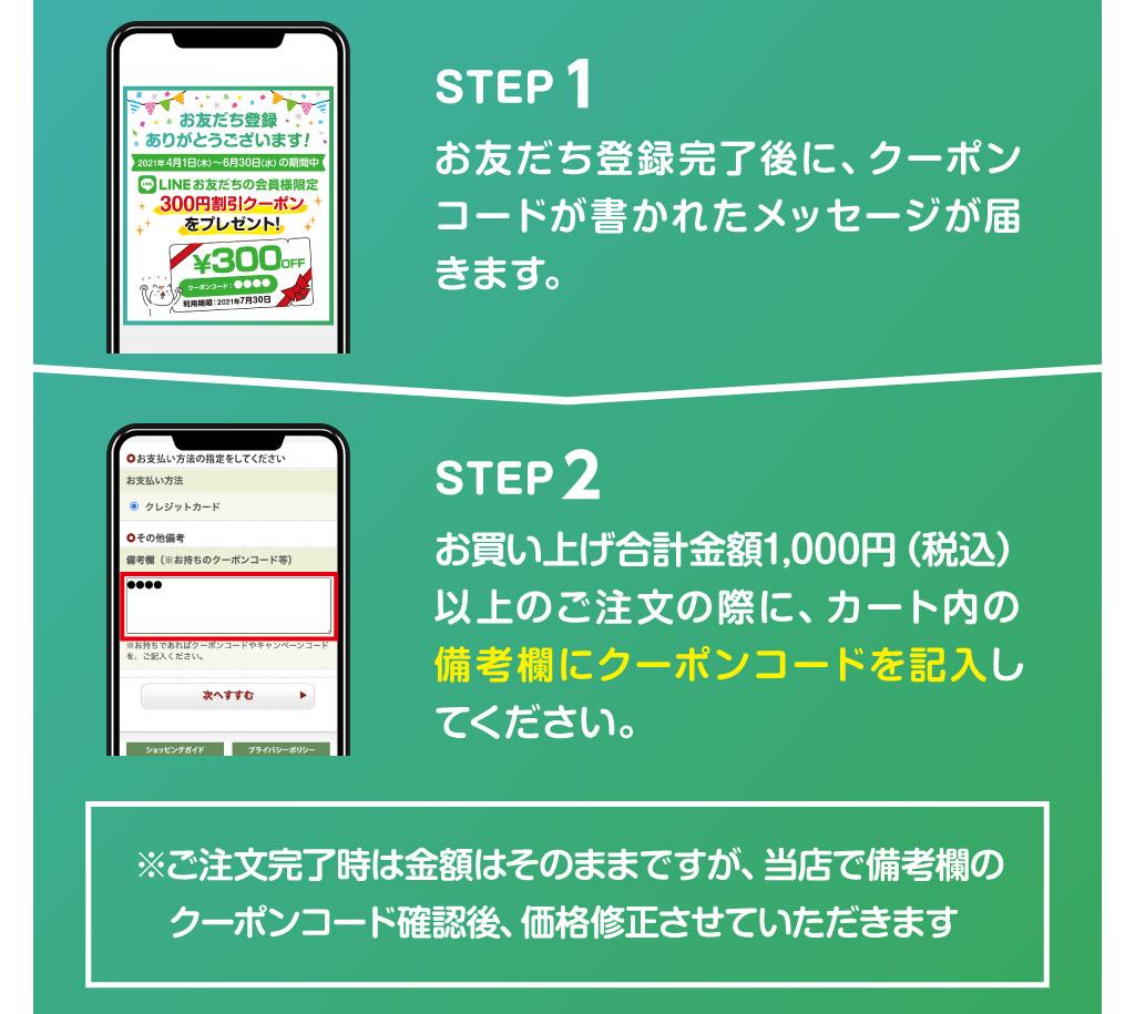 ネットショップでの300円割引クーポンの利用方法