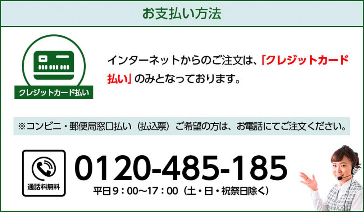 インターネットからのご注文はクレジットカード払いのみとなっています。