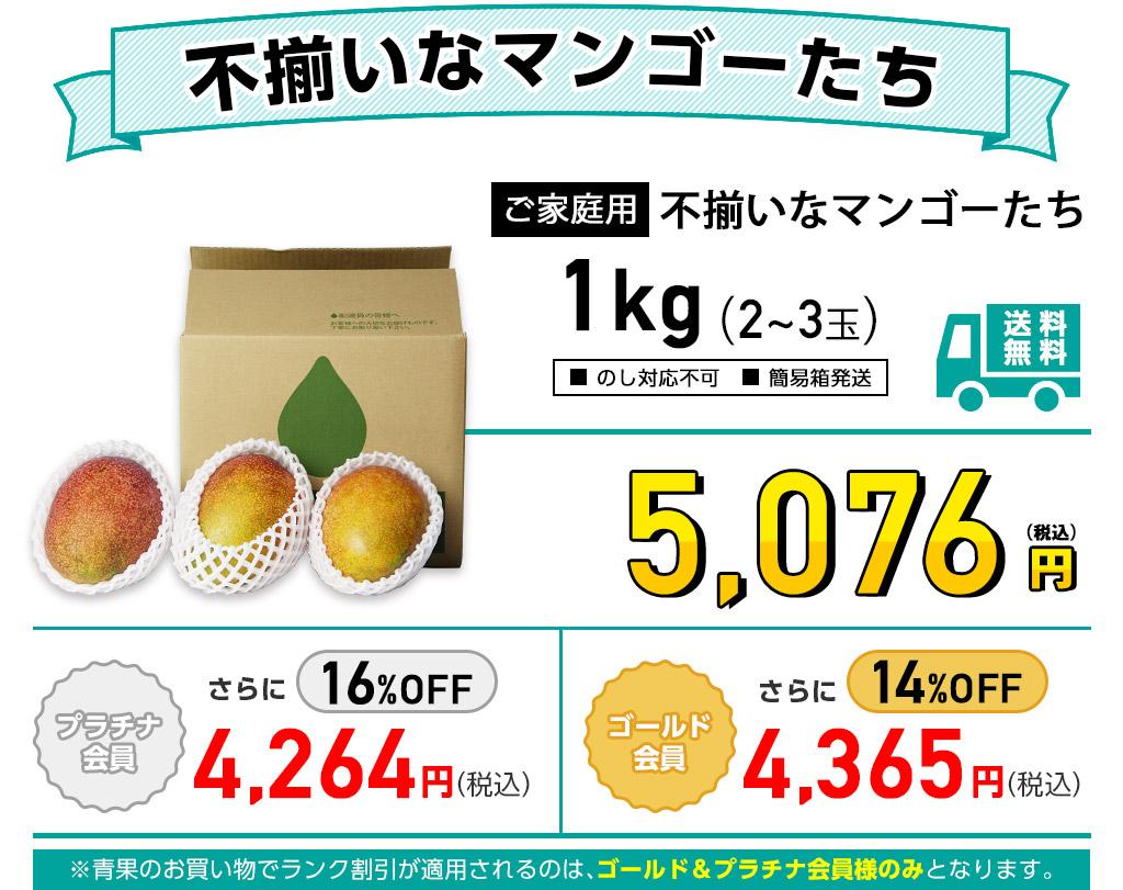 ご家庭用 不揃いなマンゴーたちの1kg価格