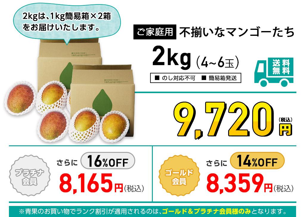 ご家庭用 不揃いなマンゴーたち 2kgの価格