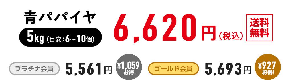 有機JAS認定:青パパイヤ5kg ¥6,620(税込)送料無料