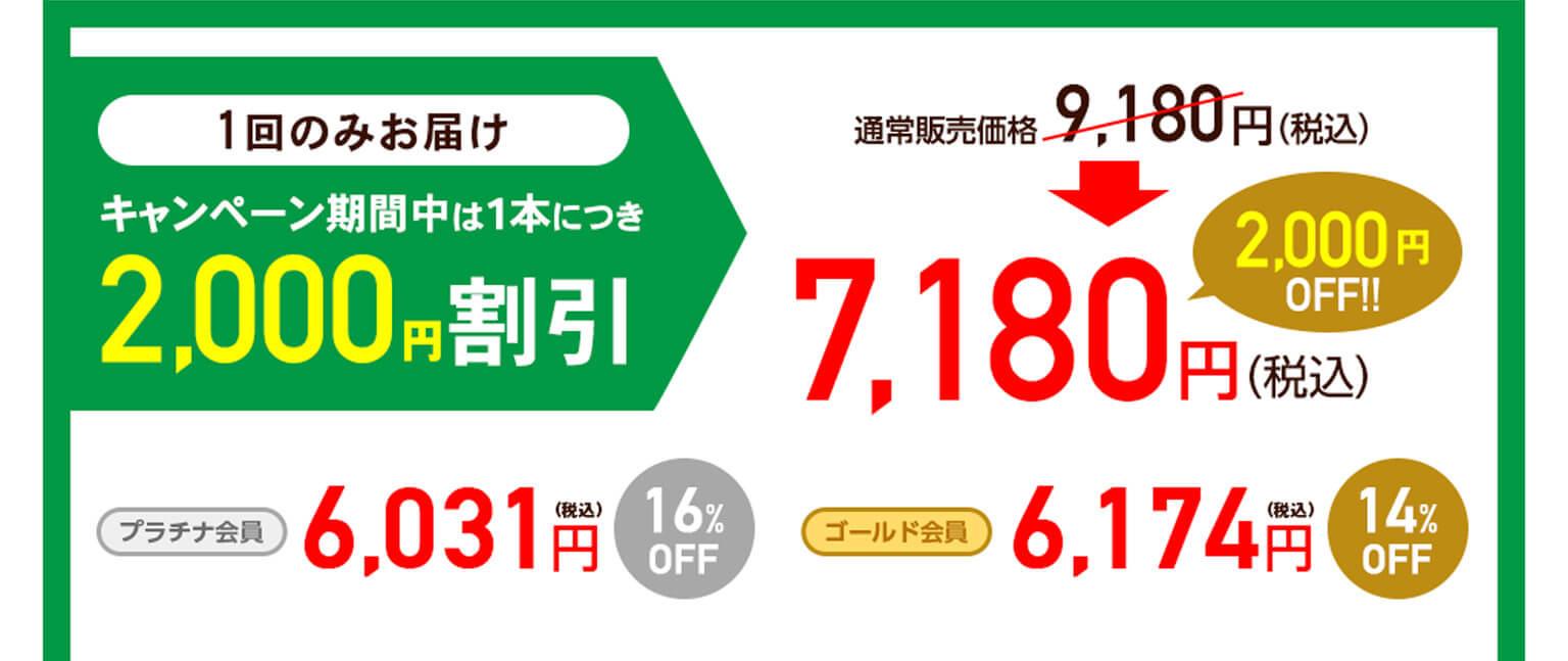 1回のみお届け[通常購入]は、キャンペーン期間中:1瓶につき2,000円割引の7,180円(税込)