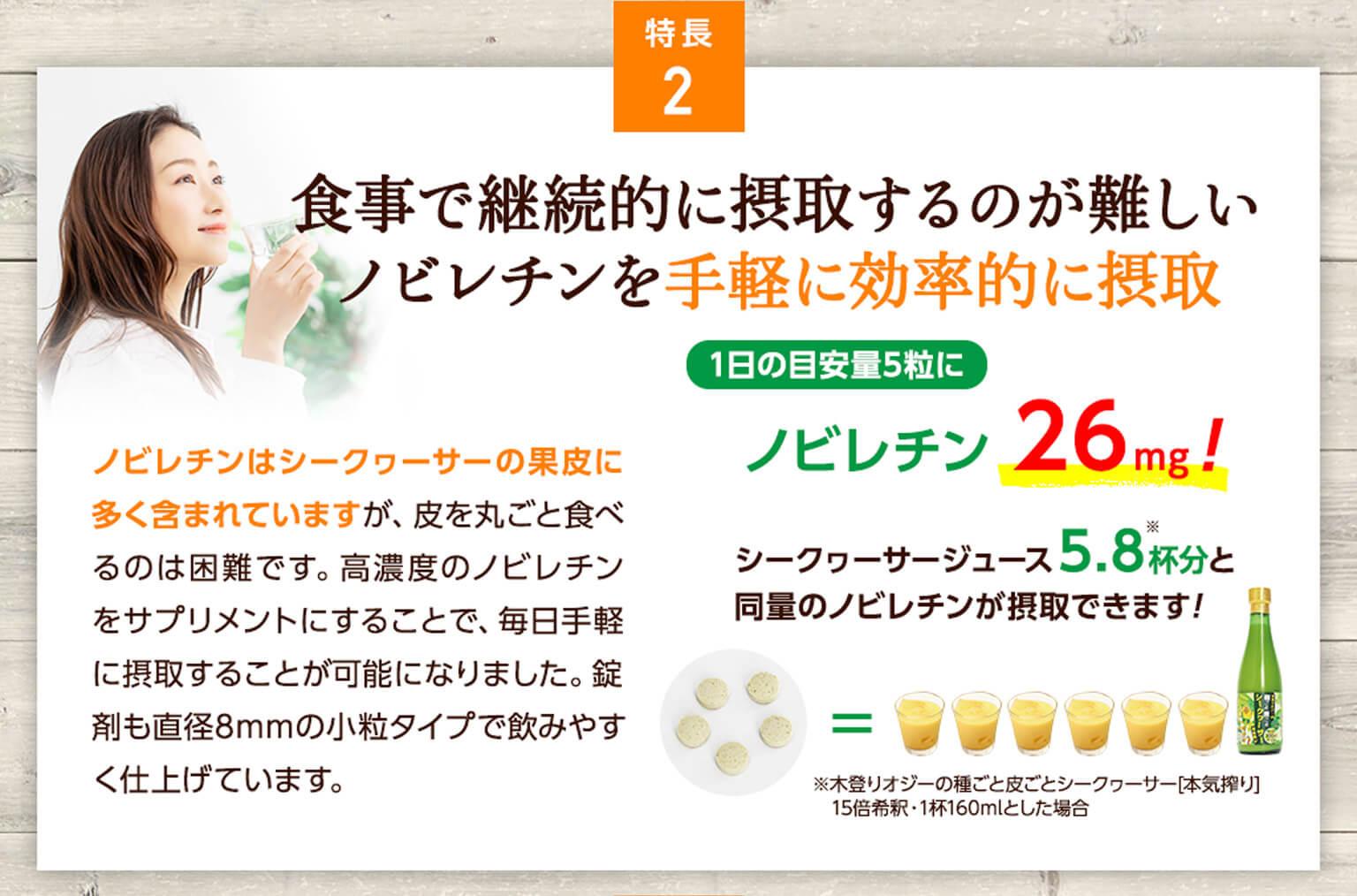 特長2:食事で継続的に摂取するのが難しいノビレチンを手軽に効率的に摂取